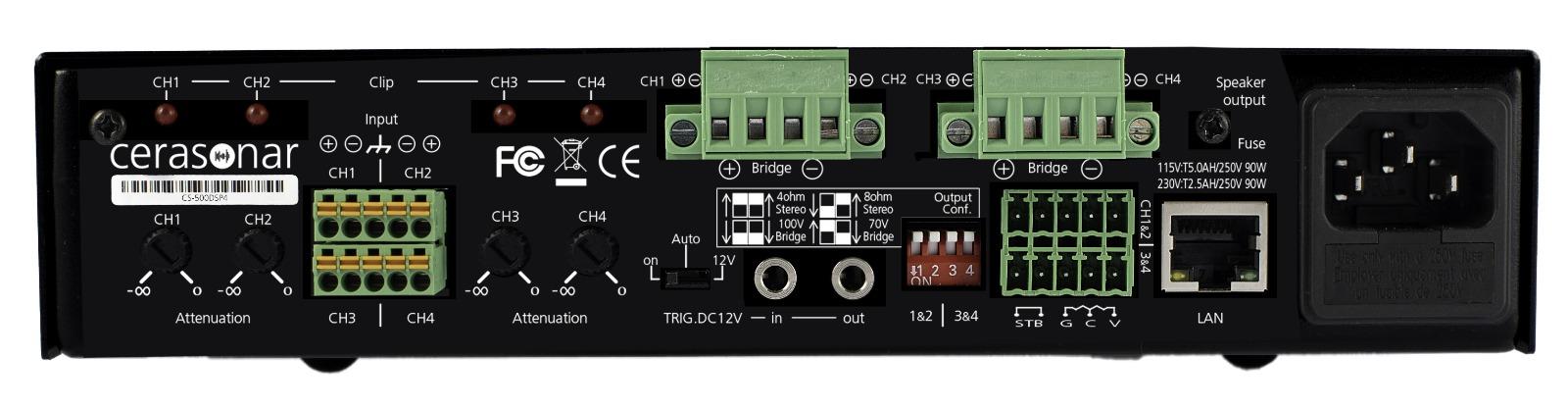 panel tylny wzmacniacza cerasonar cs500dsp4 z matrycą i dsp