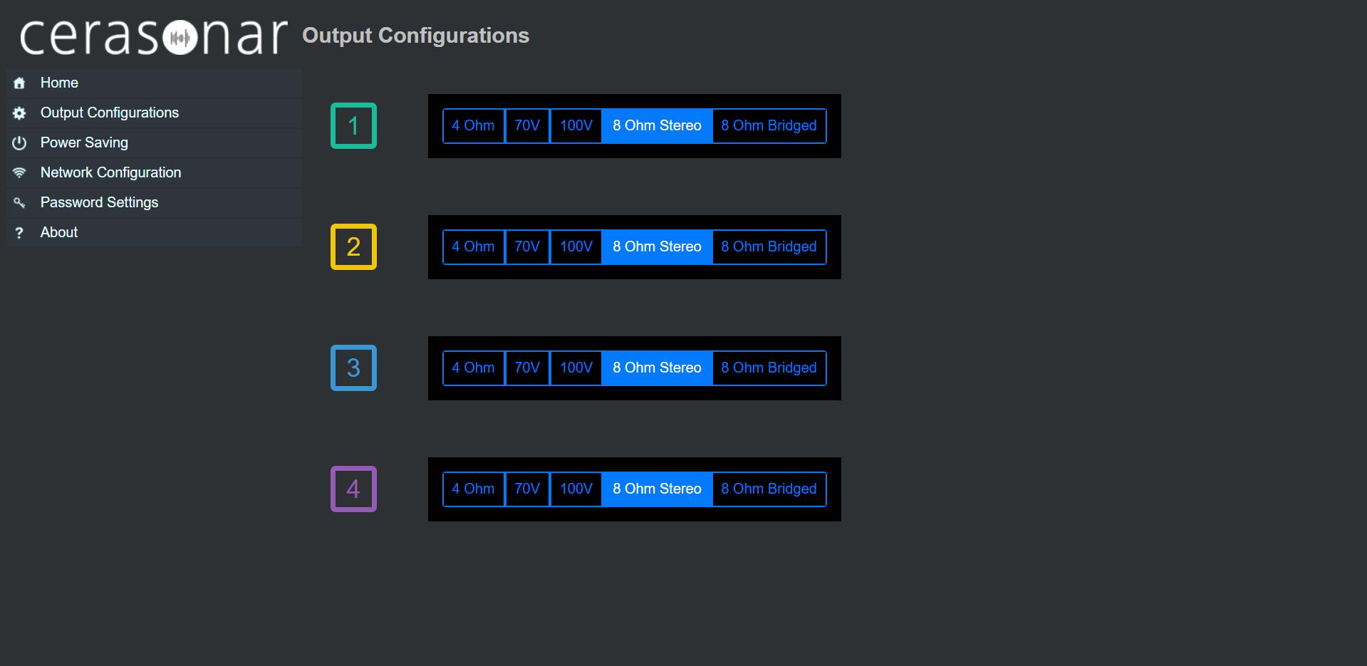 konfiguracja trybu pracy wzmacniacza